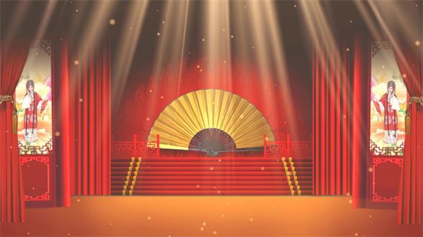 粤剧文化戏剧舞台红色布帘大折扇飘浮粒子古典背景视频素材
