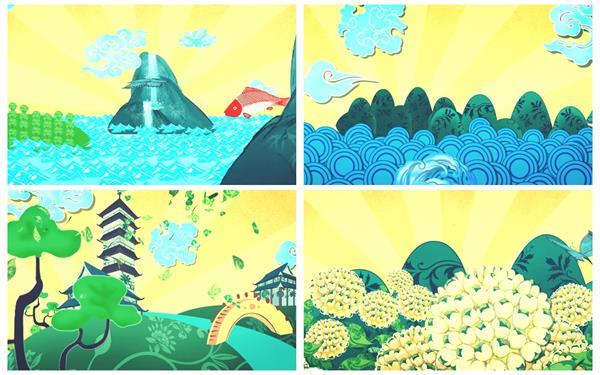 中国风二维图案动画唯美帆船山水建筑景色典雅背景视频素材