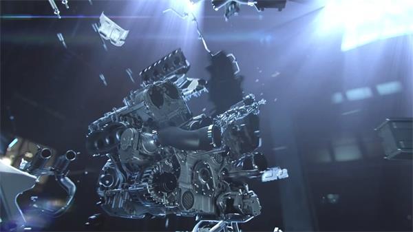 高新科技汽车发动机全视角透视运作宣传广告实拍高清视频素材