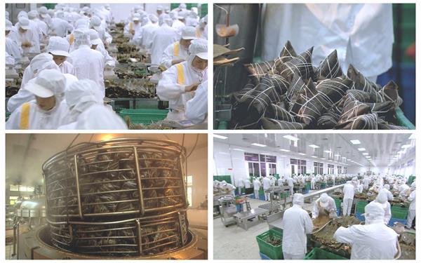 裹蒸粽标准化生产链专业人员粽?#24433;?#35013;全过程高清视频延时实拍