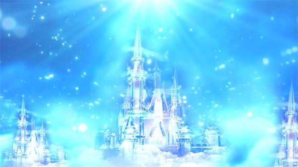 云端上梦幻蓝光照射古堡童话般景象光效粒子飘浮LED高清视频素材
