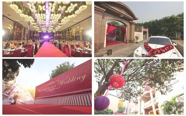 豪华崇高婚礼花球房屋室内装饰迎亲花车婚宴排场高清视频实拍