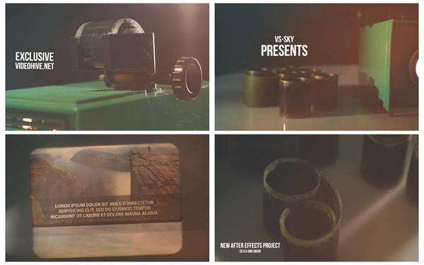 AE模板 怀旧假日时光复古胶卷仪切换相册幻灯投影揭示模板 AE素材