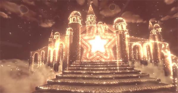 梦幻云端上飞舞光效星星光束热气球城堡金沙LED背景视频素材
