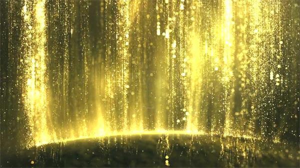 浪漫豪华金色粒子流光线条光效瀑布婚礼LED屏幕背景视频素材