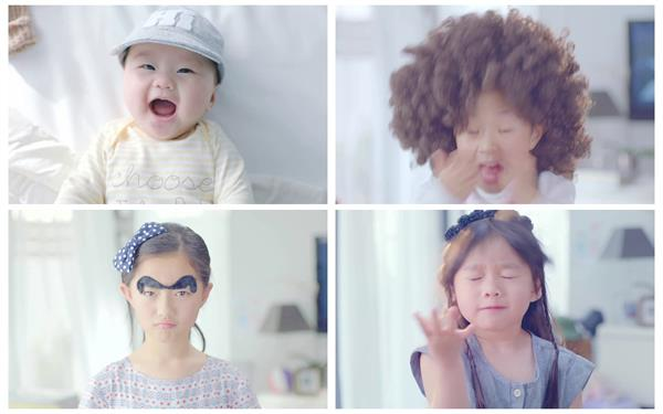 儿童装扮笑容成长历程欢笑表情理财通广告宣传高清视频实拍
