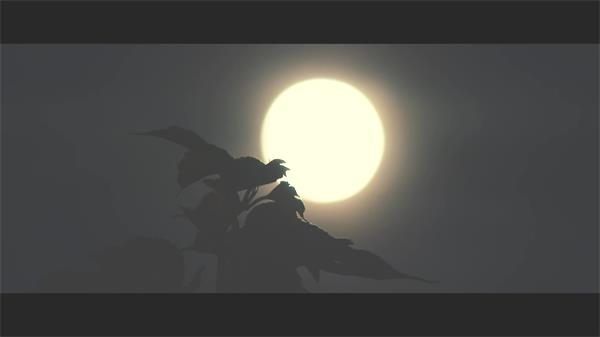 月黑风高夜晚偶尔乌云遮罩月亮映射树木烘托氛围高清视频实拍