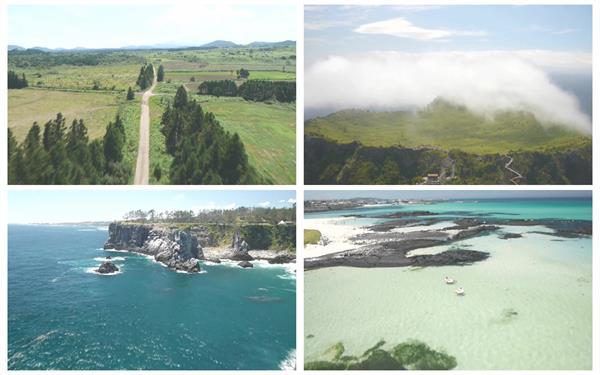 郊区岛屿海岸唯美海浪高山景色碧海蓝天高空旅游胜地高清视频航拍
