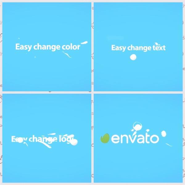 AE模板 卡通涂鸦水滴运动演绎LOGO标志模板 AE素材