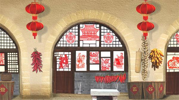 喜庆节日剪纸五谷粮食吊挂逼真乡村文化场景背景视频素材