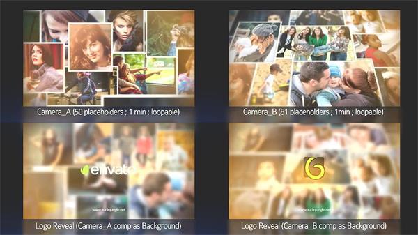 AE模板 欢乐时光记录相册照片墙移动切换LOGO标志揭示模板 AE素材