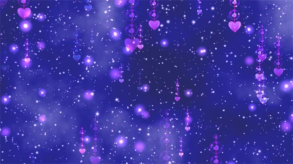 唯美蓝色星空梦境爱心吊坠星星粒子童话视觉LED配景视频素材