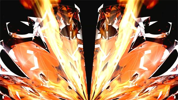 炫光震撼大气火焰爆炸收场片头LED静态配景视频素材