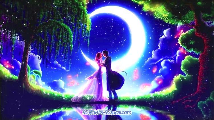 唯美紫色浪漫情侶月下親吻浮動粒子led動態背景視頻素材