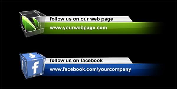 AE模板 时髦商务图案淡出淡入科技矩形字幕条模板 AE素材