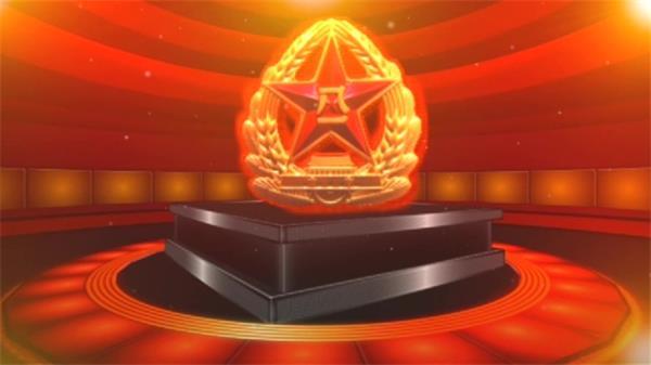 大气正义八一军徽开场片头LED动态背景视频素材