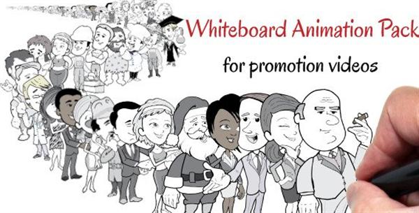 AE模板 洁白漫画简约商务风手姿势包装推广元素模板 AE素材