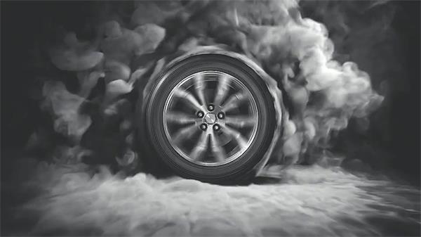 AE模板 动感电流光效车轮旋转漂移烟雾快速转场LOGO模板 AE素材