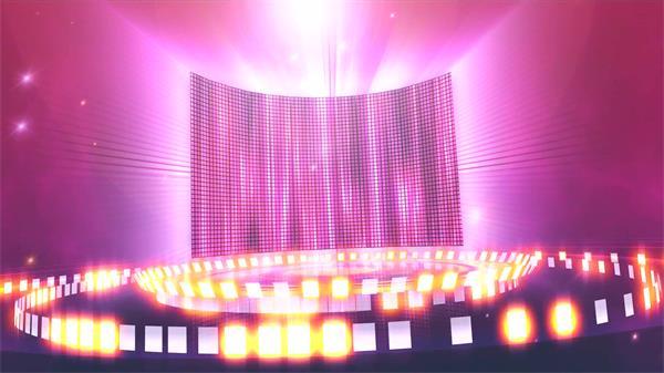 绚丽震撼闪亮旋转飞出舞台LED屏幕五角星变幻包装栏目背景视频素