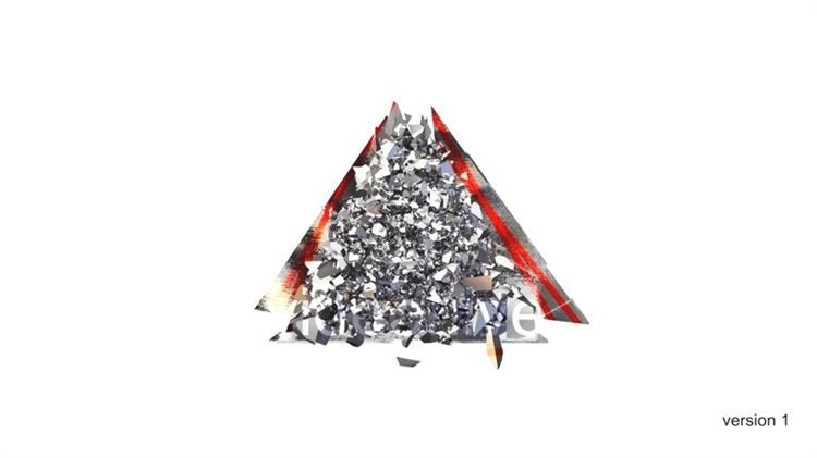 AE模板 创意震撼三角节奏动感破碎演绎LOGO标志模板 AE素材