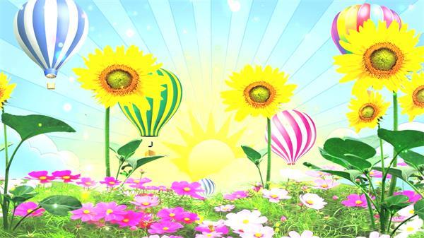 唯美趣味阳光向日葵花朵绽放缤纷色彩搭配热气球上升背景视频素材