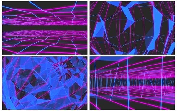 虚拟3D场景抽象几何形状变幻构建科幻感VJ背景屏幕视频素材