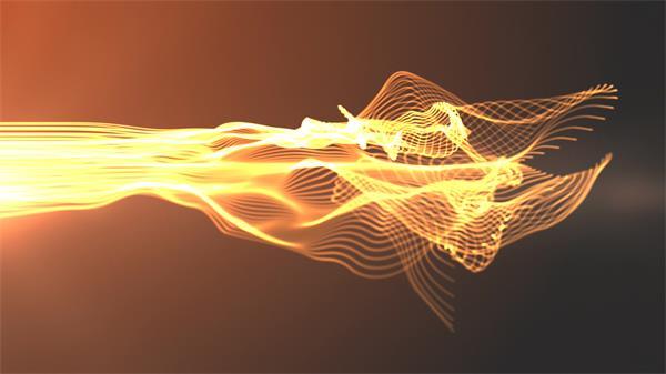 充溢生机黄色光效线条活动唯美气魄展示科技炫光配景视频素材
