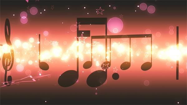 旋转音符梦幻星星光斑闪耀LED动态背景视频素材