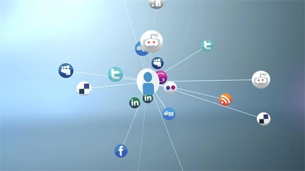 現代化智能網絡科技社交關系網LED動態背景視頻素材