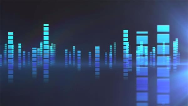 動感跳動三維音頻條倒影LED動態背景視頻素材