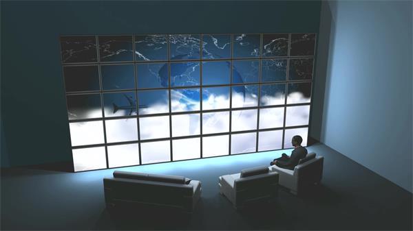 炫酷虚拟三维空间场景人物坐着观看LED大屏幕动态视频素材