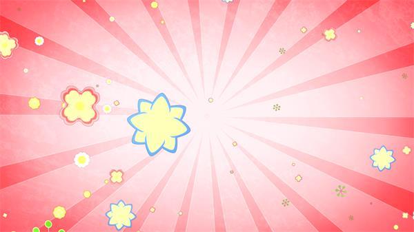 唯美童真儿童欢乐花朵形状弹出射线背景趣味缤纷舞台背景视频素材