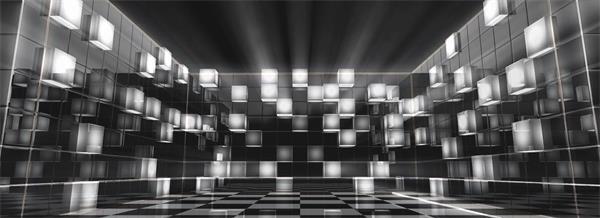 黑白動感變幻三維空間凸起正方形燈光節奏循環運動背景視頻素材