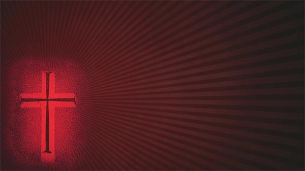红色十字架线性旋转LED动态背景视频素材