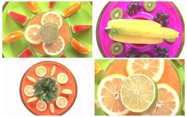 缤纷色彩水果搭配拼盘旋转缩放展示水果摆设镜头高清视频拍摄
