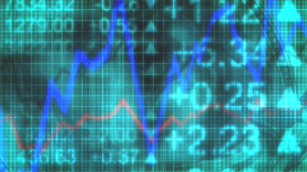 股票图形线性条形上下波动钱币飘浮股市投资背景视频素材
