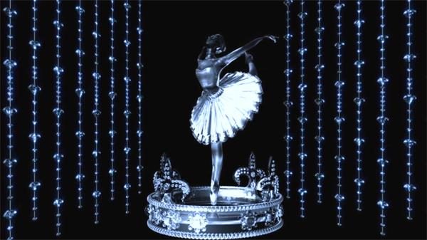芭蕾舞音乐盒舞者旋转LED动态背景视频素材