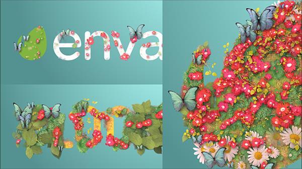 AE模板 缤纷绚丽的花草盛开绽放蝴蝶渲染淡出LOGO标志模板 AE素材