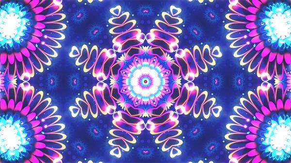 炫酷旋变化幻斑纹万花筒动感光效花朵视觉打击幻灯配景视频素材