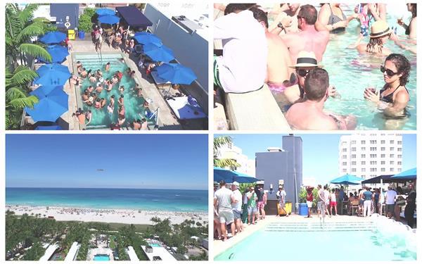 夏日炎炎海滩?#39057;?#23627;顶泳池狂欢休闲派对俯视角度拍摄高清视频拍摄