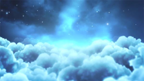 夢幻星空云端飛行鏡頭星光閃閃濃云視覺沖擊動感背景視頻素材