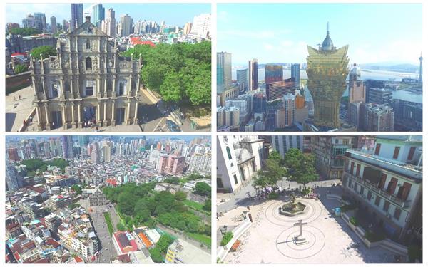 中国澳门建筑景色繁华密集高楼标志建筑拍摄建筑特色高清视频航拍