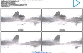 古典水墨山水画烟雾飘浮山峰流水自然唯美景色背景视频素材