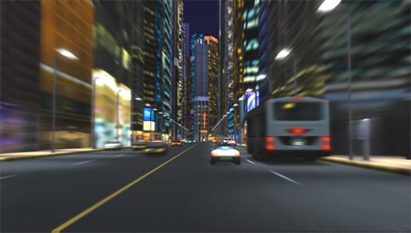 夜间繁华城市汽车镜头快速穿梭高楼道路转弯行驶移动视频素材