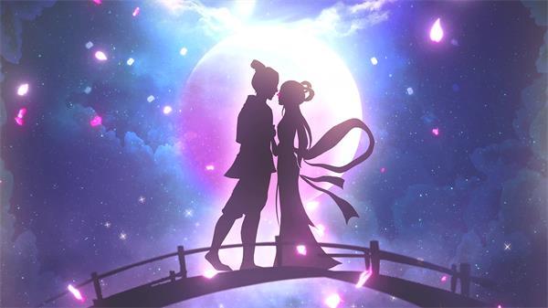 浪漫七夕节绚丽光效叶子飘浮牛郎织女唯美月亮舞台背景视频素材