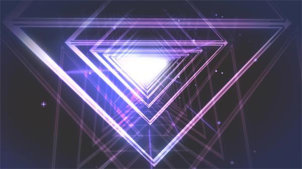 抽象神秘隧道探索线性三角形粒子线条飘浮层叠穿梭动态视频素材