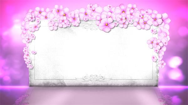 浪漫唯美高档婚礼相框花朵缩放光点运动梦幻舞台背景视频素材