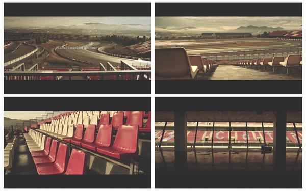 复古滤镜拍摄赛车场景赛道座椅建筑风格怀旧气息高清视频实拍