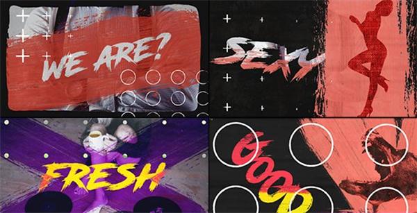 AE模板 酷炫动感涂鸦笔刷紊乱标记切换变革收场片头模板 AE素材