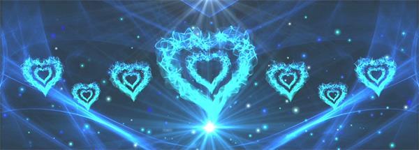 梦幻唯美蓝色心形光效火焰粒子线性飞舞大气婚礼舞台背景实拍素材